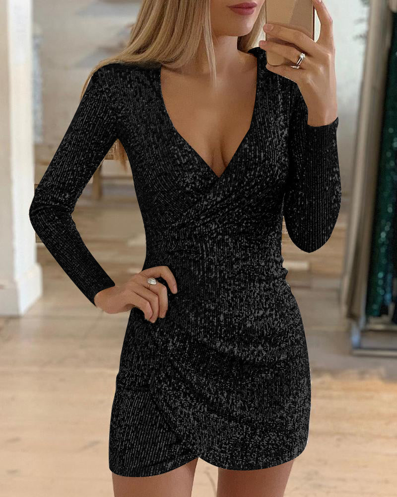 Surplice Wrap Ruched Sequins Bodycon Dress