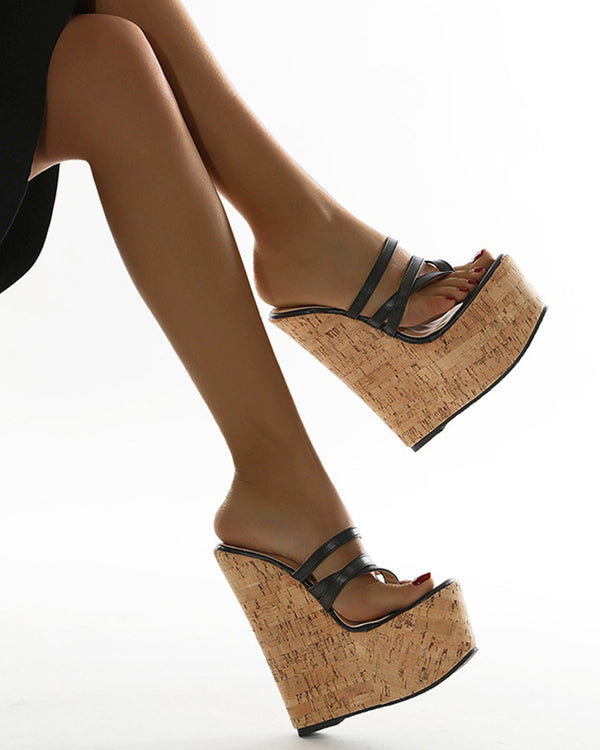 Strappy Open-toe Wedge Shoes Sandals