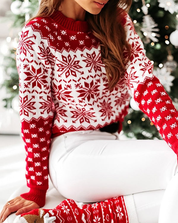 Christmas Snow Print Colorblock Knit Sweater