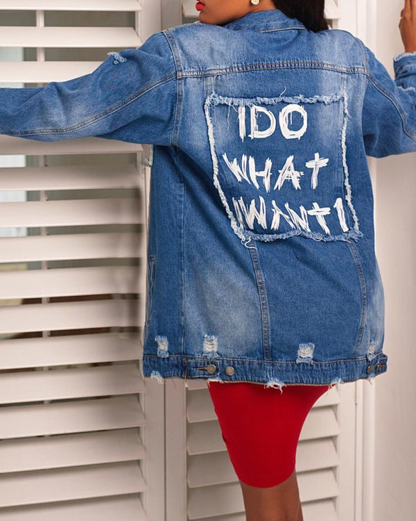 Frayed Snap Button Back Slogan Denim Coat
