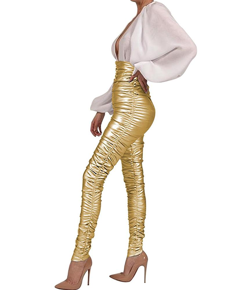 High Waist Metallic Skinny Pants