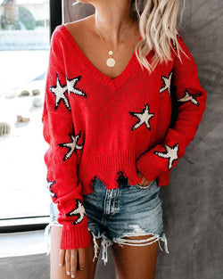 V-Neck Sweater Print Casual