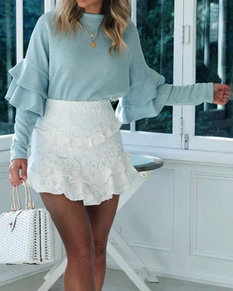 Casual Ruffled Long Sleeve Sweater