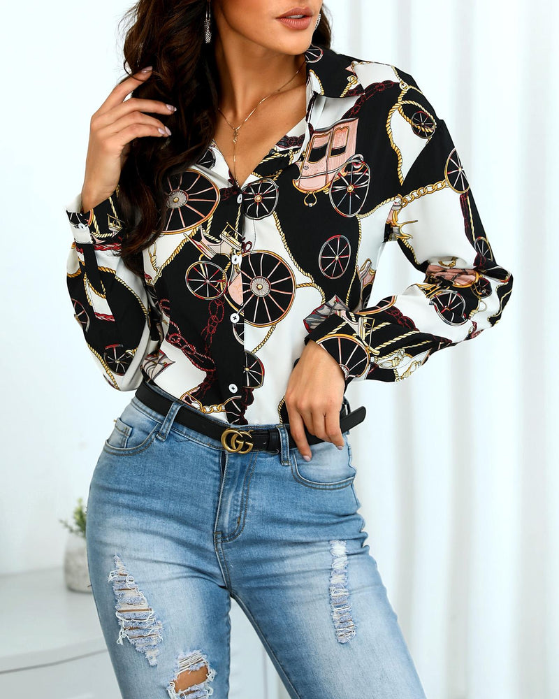 Mixed Print Button Up Casual Shirt