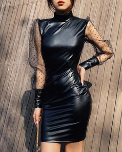 High Neck Mesh Sleeve Leather Dress