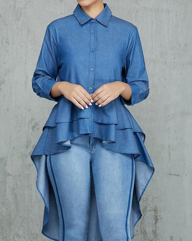 Denim Layered Flounced Dip Hem Blouse