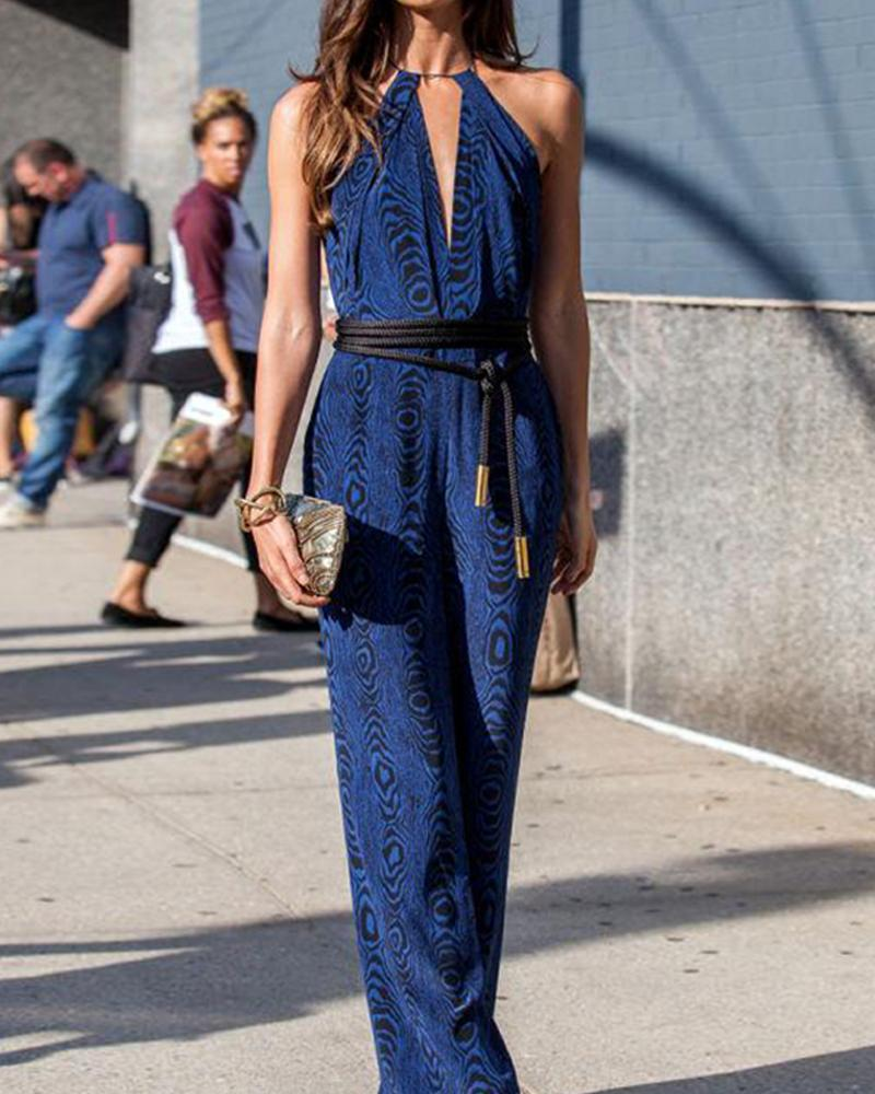 Halter Neck Sleeveless Jumpsuit