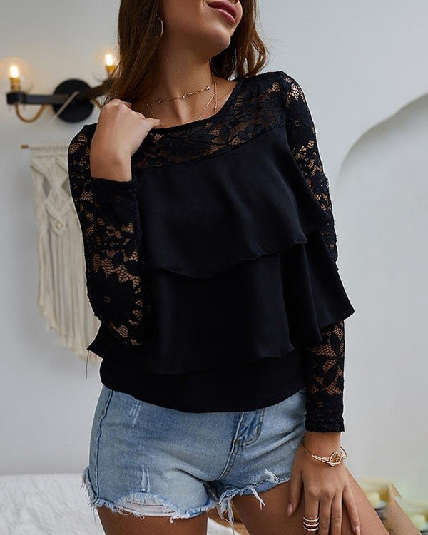 Lace Yoke Ruffles Casual Top