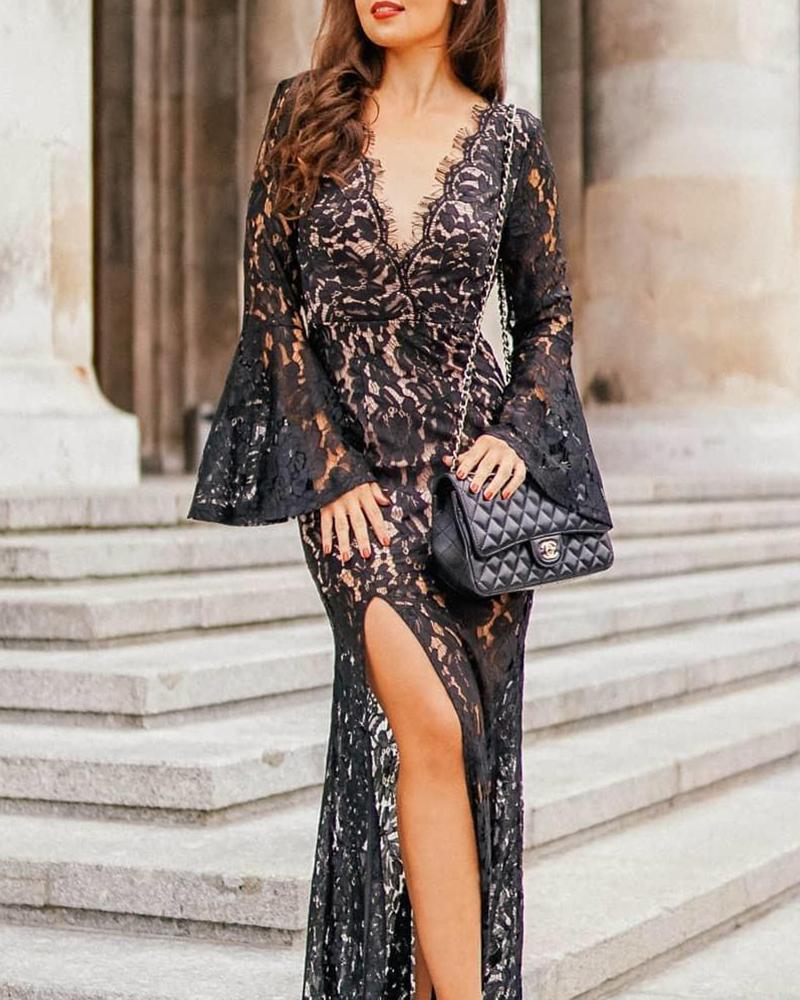 Bell Sleeve Lace Detail Maxi Dress