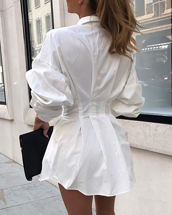 Solid Long Sleeve Tight Waist Shirt Dress