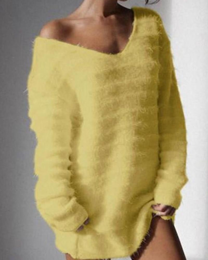 Solid Long Sleeve V Neck Sweater