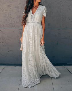 Lace V Neck Short Sleeve Embroidery Maxi Dress