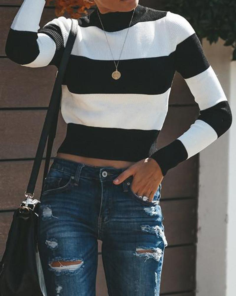 Stripe Openwork Back High Collar Long Sleeve Short Sweater Turtle Neck Tops T-Shirt