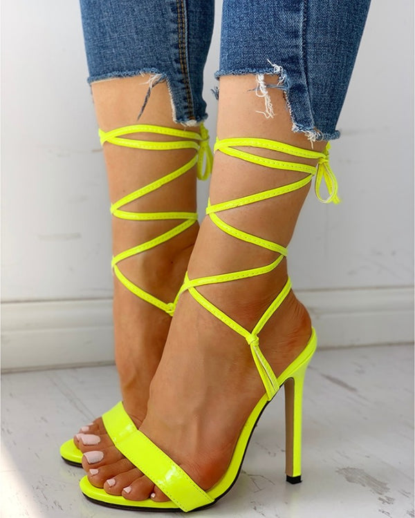 Open Toed Bandage Lace-Up Thin Heeled Sandals