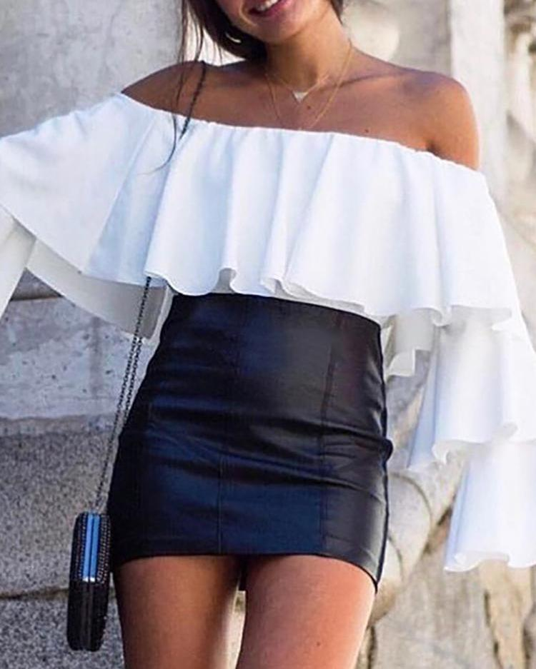 Off Shoulder Ruffles Bell Sleeve Top