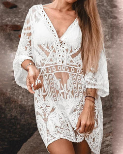 V Neck Crochet Cover-Up