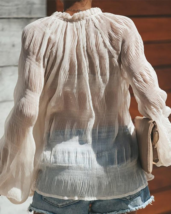 V-Neck Sheer Long Sleeve Casual Blouse