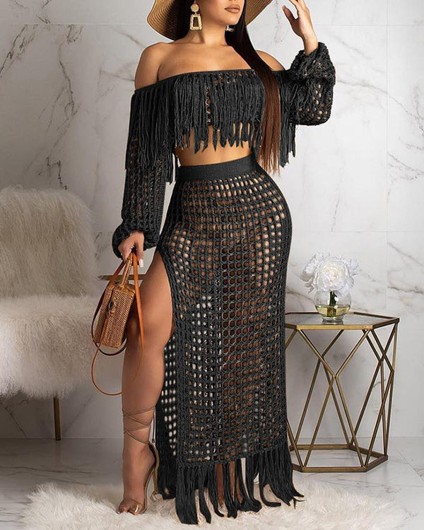 2 Piece/Set Sexy Off Shoulder Tassels Crop Top And Long Skirts Set