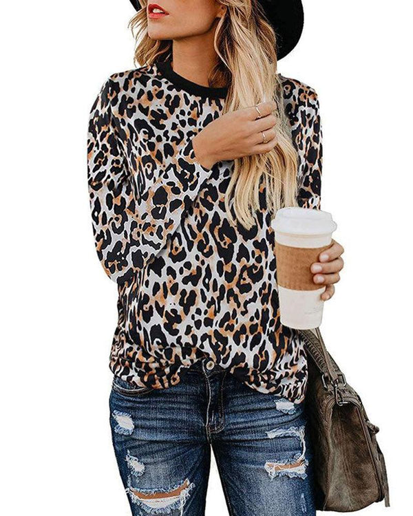 Leopard Long Sleeve Tops