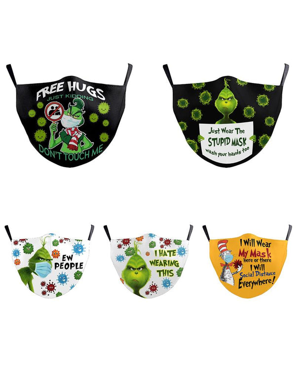 5PCS/Set Randomly Dispatched Christmas Cartoon Print PM2.5 Filter Face Mask For Adult