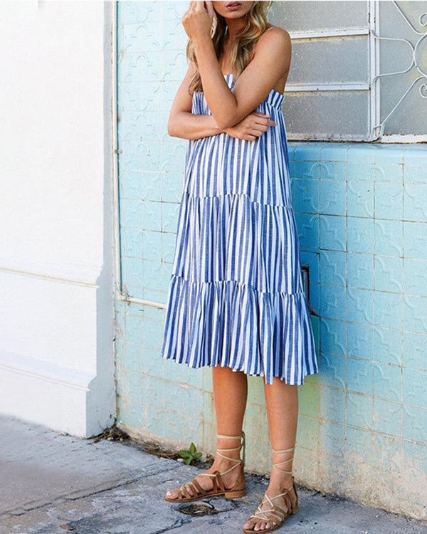Striped Graceful V-neck Halter Dress