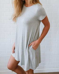 Solid Short Sleeve Casual T-Shirt Dress