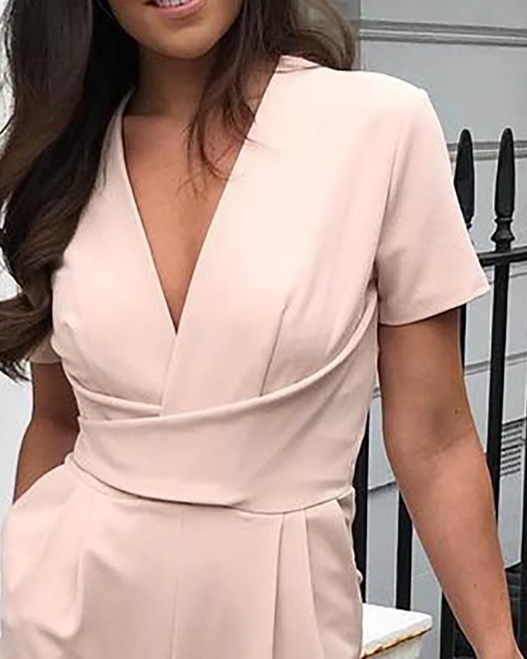 Solid Ruched V Neck Short Sleeve Wide Leg Jumpsuit