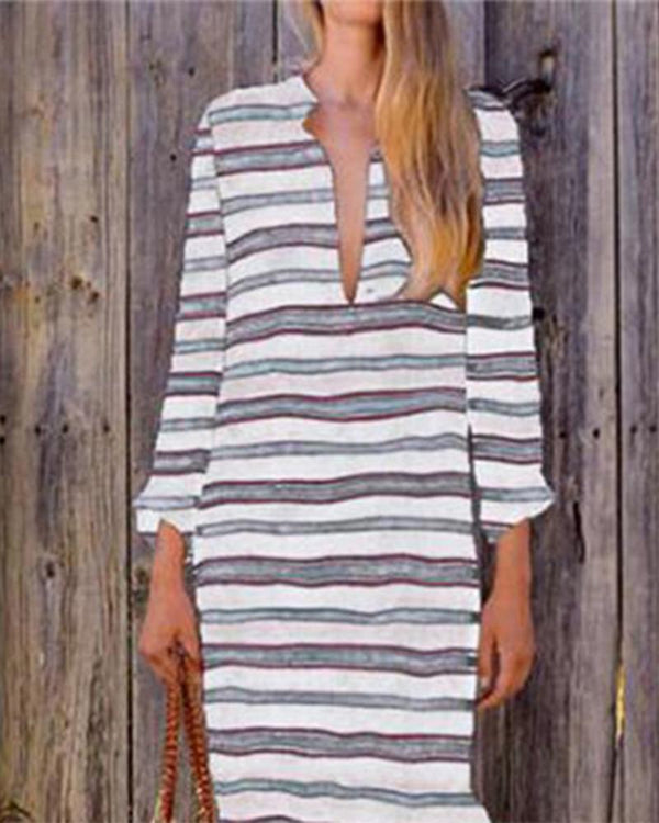Striped Long Sleeve Maxi Dress Long Gown