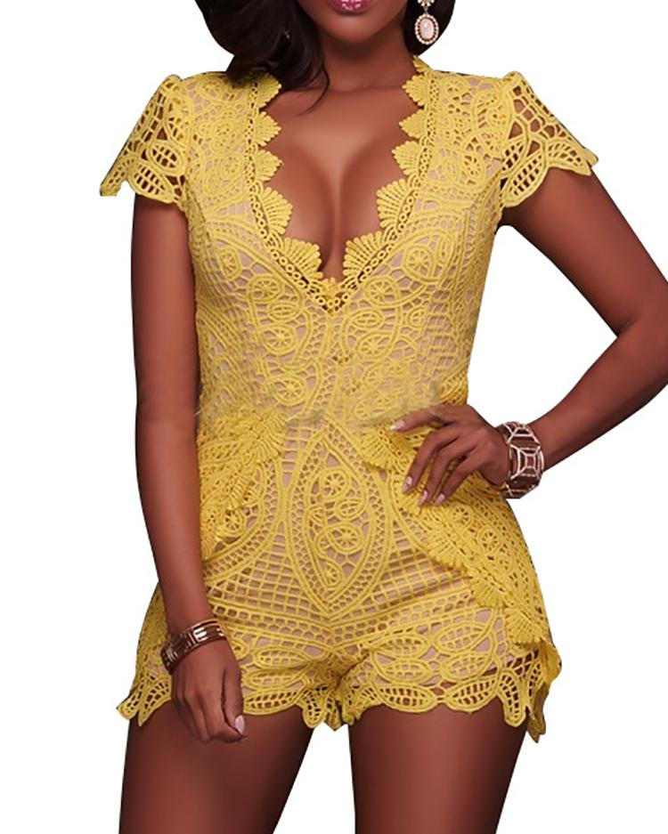 Sexy Hollow Out Scalloped Lace Romper