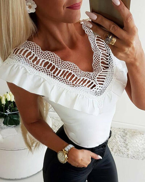 Hollow Out Lace V Neck White Top