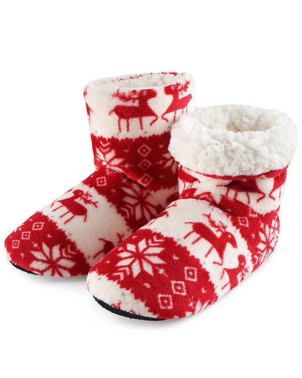Christmas Mixed Print Fluffy Indoor Boots