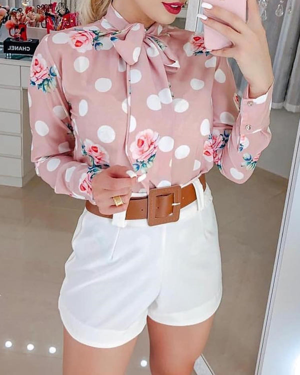 Tied Neck Dot Floral Print Casual Shirt