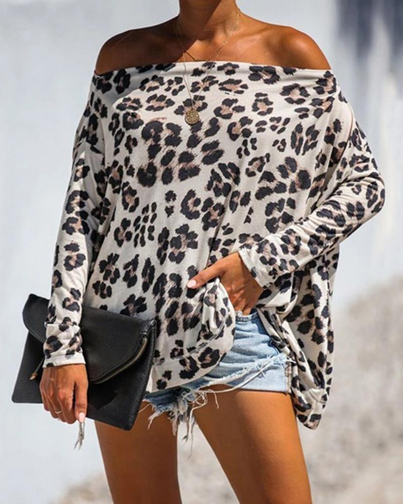 Cheetah Print Off Shoulder Batwing Sleeve T-shirt