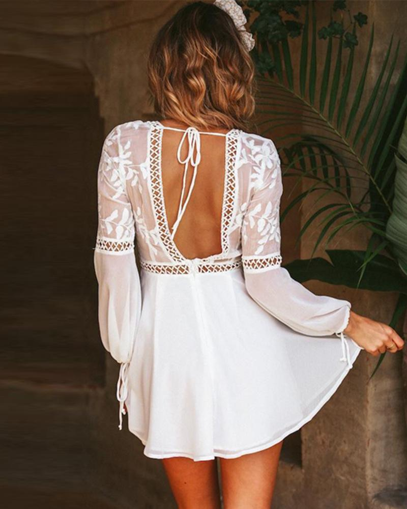Sexy V-neck halter lace stitching long sleeve dress