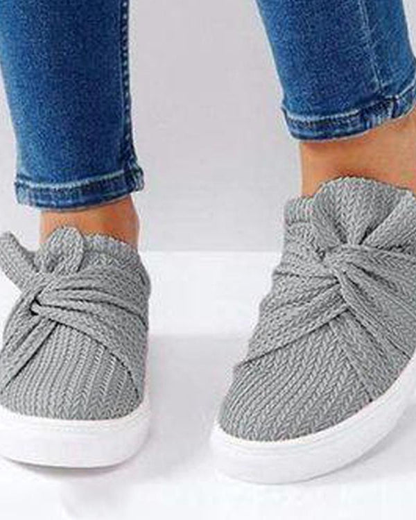 Ribbed Twist Slip On Sneakers