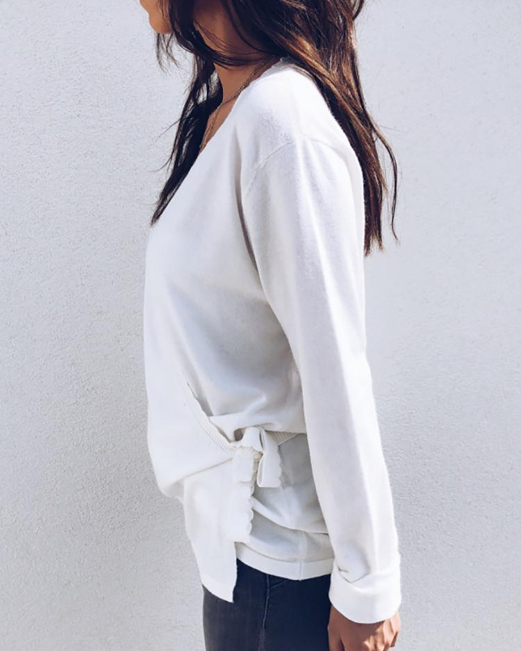 Solid Wave Trim Wrap Knot Side Sweater