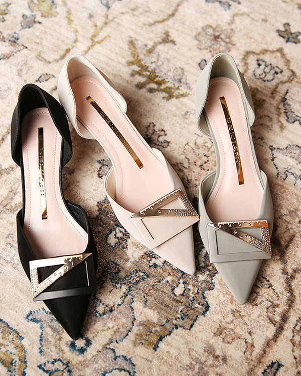 Square Buckle Upper Cut-out Pointed-toe Low Heel Sandals