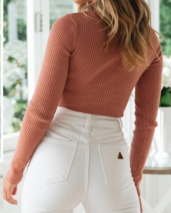 Criss Cross Knot Sweater Top