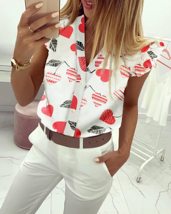 Cherry Print Flutter Sleeve Casual Blouse