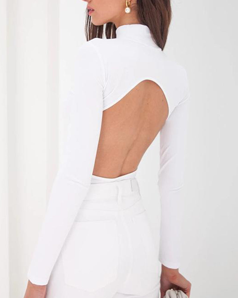 Open Back Round Neck Top