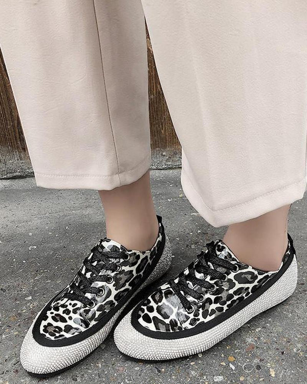 Rhinestone Embellished Lace-Up Sneaker