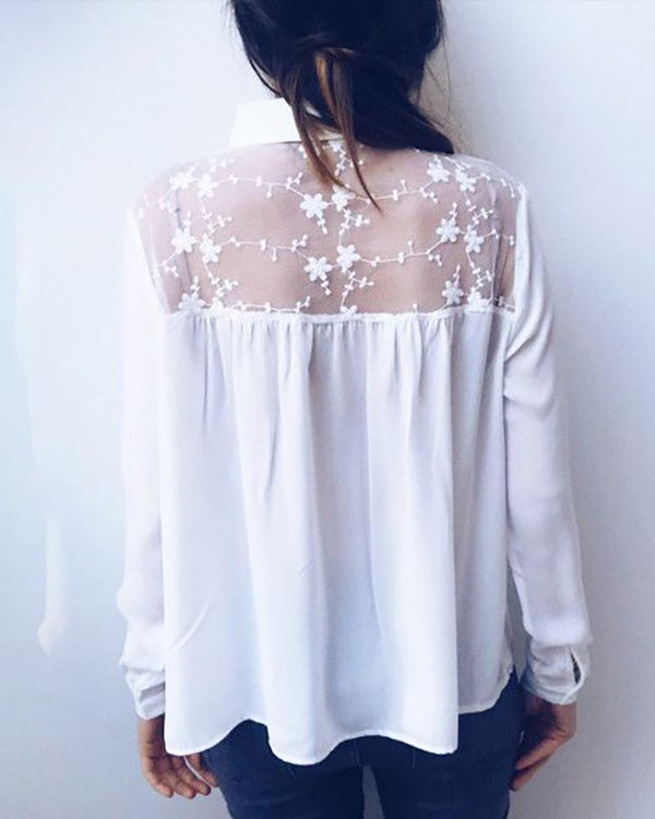 Sexy Lace Stitching Long Sleeve Blouse