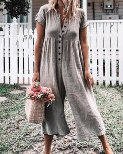 Button Up Short Sleeve Wide Leg Jumpsuit