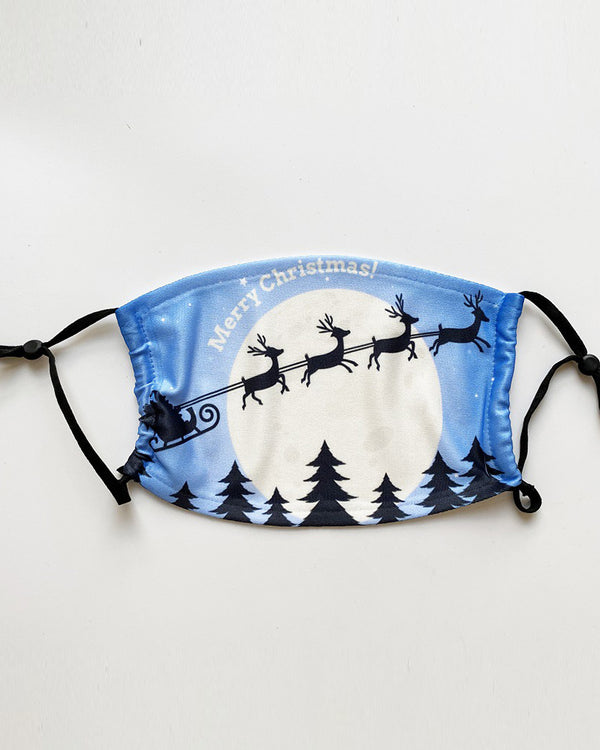 Christmas Santa Reindder Print PM 2.5 Face Mask With Filter For Kids