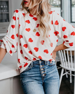 Heart Pattern Long Sleeve Loose Blouse
