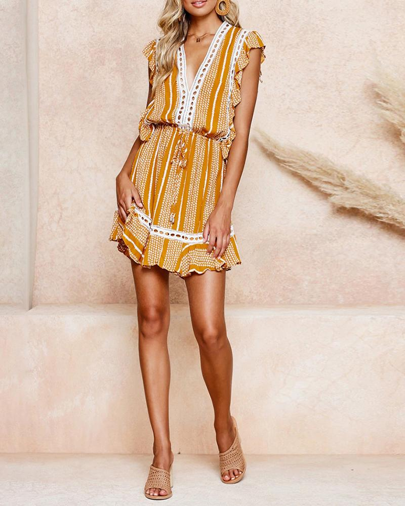 Deep V-neck print dress