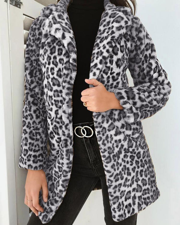 Leopard Fluffy Open Front Coat