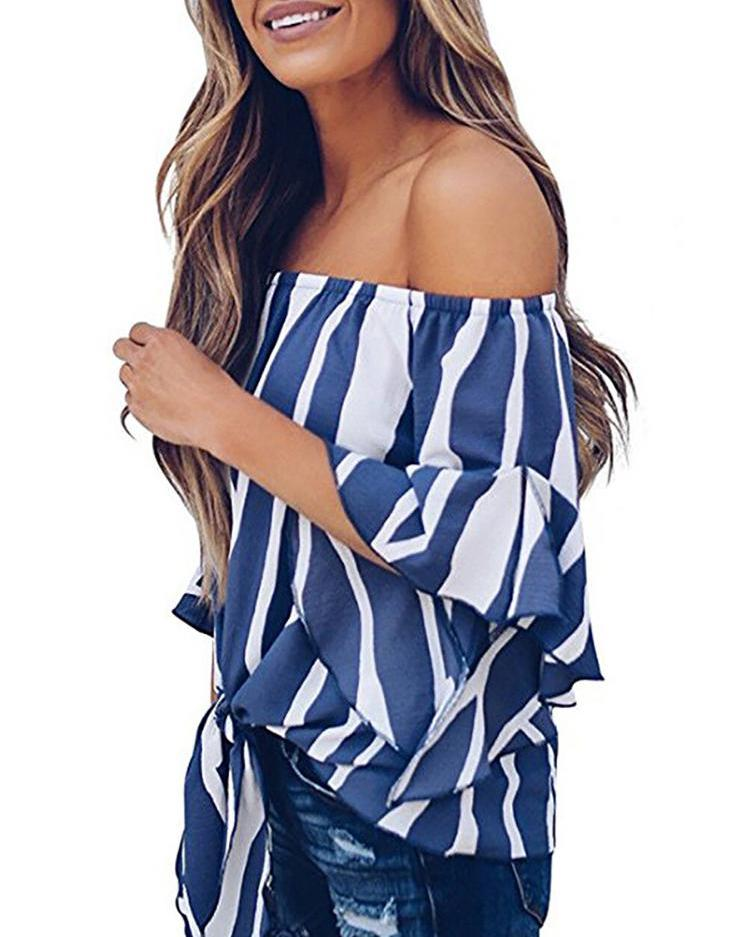 Striped Knot Front Flared Sleeve Bardot Blouse