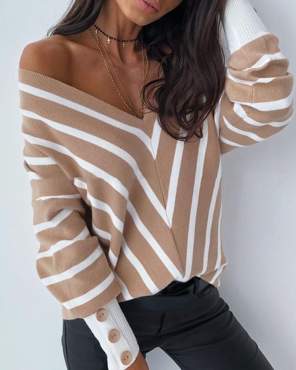 V Neck Popper Cuff Striped Casual Sweater