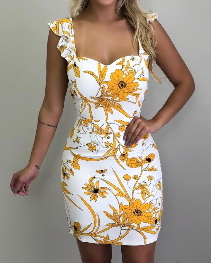 Floral Print Sweetheart Neck Ruffle Strap Mini Dress